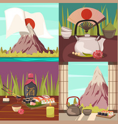 japan culture concept orthogonal icons vector image