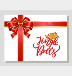 jingle bells christmas greeting card with bow vector image