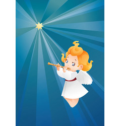 kid angel musician flutis flautist flying on a vector image