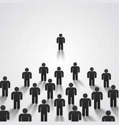 leader stands in front of a crowd vector image