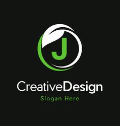 Letter j circle leaf creative business logo vector