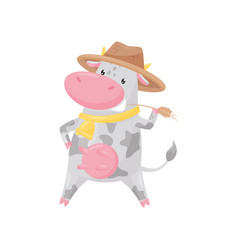 lovely spotted cow with golden bell wearing hat vector image