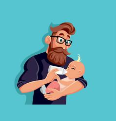 loving father bottle feeding ba cartoon vector image