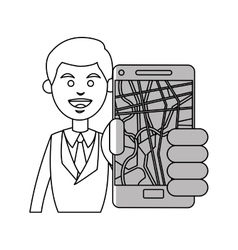 Man and smartphone with gps app design vector