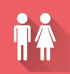 Man and woman icon with long shadow modern flat vector