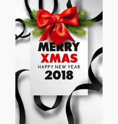merry xmas and happy new year 2018 festive vector image