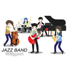 Musicians jazz band play guitarbassist vector