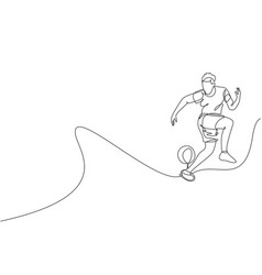 One single line drawing young man perform vector
