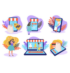online shopping via laptops smartphones and vector image