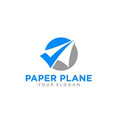 paper airplane travel logo design inspiration vector image