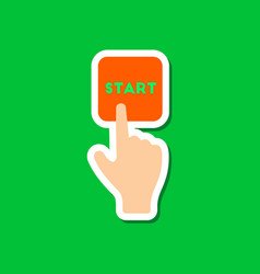 Paper sticker on stylish background hand button vector
