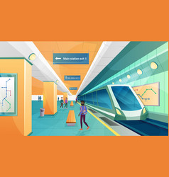 people in metro subway station vector image