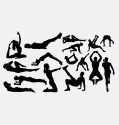 Pilates female training sport activity silhouette vector