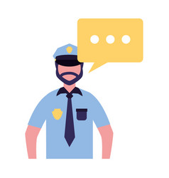 Policeman character in uniform speech bubble vector