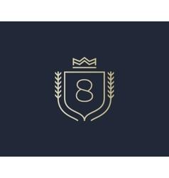 Premium number 8 ornate logotype Elegant numeral vector