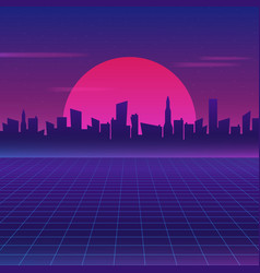 Retro future 80s style sci-fi wallpaper vector
