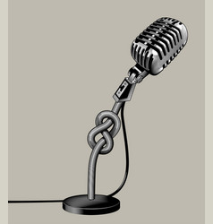 Retro microphone tied with a knot vector