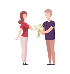 Romantic couple in love man giving bouquet of vector