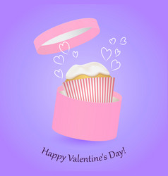 Round pink gift box and cake valentine day vector
