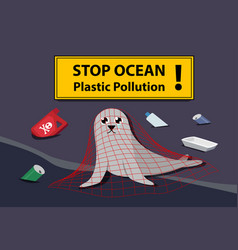 Sad seal stuck plastic net at sea pollution vector