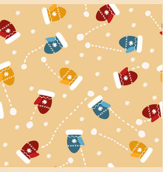 seamless pattern with mittens snowflakes vector image