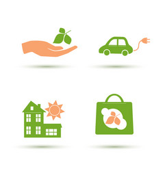 set eco friendly icons vector image