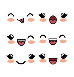 Set kawaii facial expression white background vector