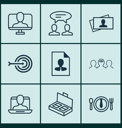 Set of 9 business management icons includes vector