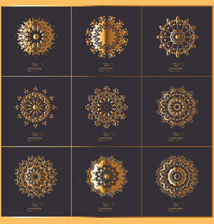set of oriental mandala vector image