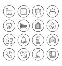 set round line icons hotel vector image