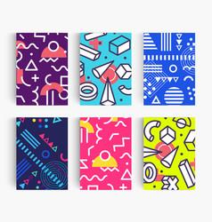 set summer poster bright memphis geometric vector image