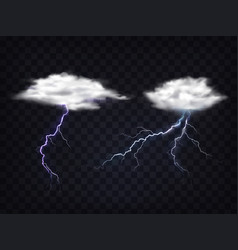 Set transparent white clouds with lightning vector