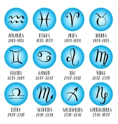 Signs of the zodiac icons Hand-drawn lettering vector