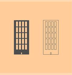 sky tower building dark grey set icon vector image