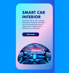 Smart car interior vertical banner view vector