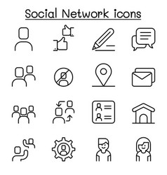 social network social media icon set in thin vector image