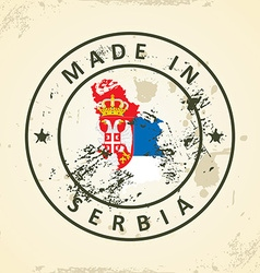Stamp with map flag of Serbia vector image