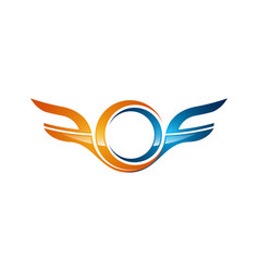 strong wings abstract bold color logo winged logo vector image