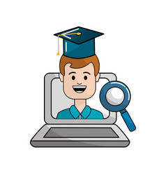 Student with class online education vector