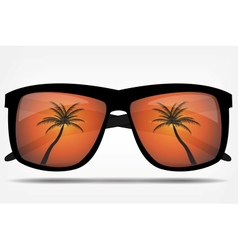 Sunglasses with a palm tree vector image