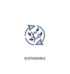 Sustainable concept 2 colored icon simple line vector