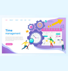 time management people with calendar schedule vector image