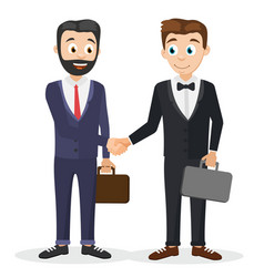 two businessmen in suits with suitcases shake vector image