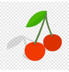 two cherries with the leaf isometric icon vector image