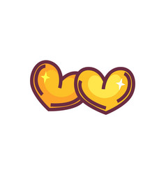 two golden hearts isolated on white symbol vector image