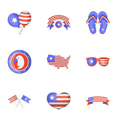 usa day icons set cartoon style vector image