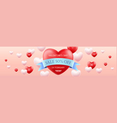 valentines day sale horizontal banner vector image