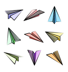 Various hand drawn paper planes colorful doodle vector