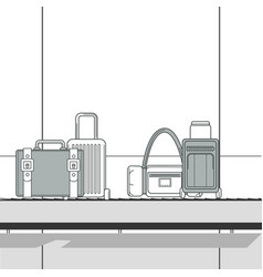 Various travel bags on baggage carousel at vector