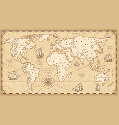 Vintage physical world map with rivers and vector
